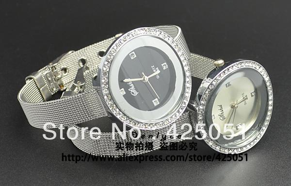 Nova moda feminina menina Assista Pulseira Relógio de pulso de cristal da moda cinto de malha de prata diamante Assista 286(China (Mainland))