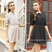 Hot Fashion Vintage Women Pointed Collar Polka Dot Print Elastic Casual Party Swing Dress White Black Size S Free Shipping 1022