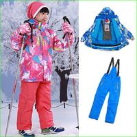 Free shipping KS01S winter Children Ski Suit Set children Winter Sports suits waterproof kids jacket +pants via EMS