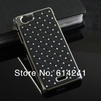 Plating Bling Star Crystal Diamond Rhinestone Hard Back Case for Sony Xperia J St26i