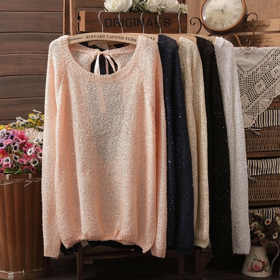 Factory Dirrectly Hot sale NEW BRAND Sweater Women bowknot Large size Loose long sleeves Knitted Cardigan 6 Colours(China (Mainland))