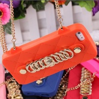 new arrival luxury metal Milan 3d chain Handbag bag cover luxury silicon case cover for iphone 5 5S 5g case Retail package