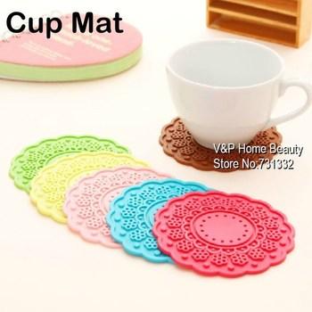 Wholesale - 50pcs/lot Button design silicone Cup Mat Ikea Novelty households Table Kitchen accessories Bulk Coaster Crochet 8502