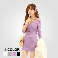 Free Shipping 2014 Solid wild bottoming strapless Slim Long rib knit tight dress #S0064