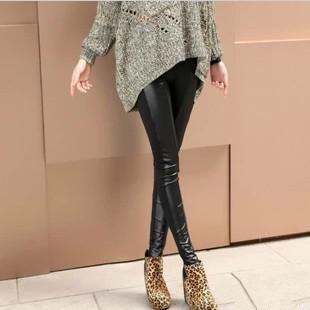 осенние брюки черный хлопок кожезаменитель пэчворк