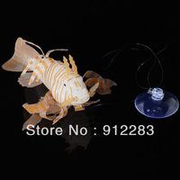 Free shipping Aquarium Fish Tank Artificial Fake Lionfish Ornament Decoration White SZ043