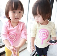 Free Shipping Baby Kids Toddlers Girls Lovely Lollipop Long Sleeve Cotton Top T-Shirts Sz9M-2Y