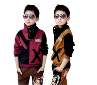 Spring Autumn Winter Twinset 2014 new handsome boy clothes sets Coats for Children tracksuit Kids Clothing Set  3T-12years