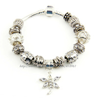 Free Shipping, Hot Sale 925 Silver Plated European Charm Bracelet with Butterfly Charm for Women Ladies
