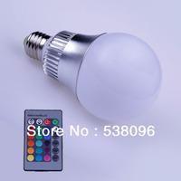 NEW!!! Hot sale 1pcs E27 15W RGB Light LED Blub romote controlled led candle lamp (85V-265V/AC) Free Delivery