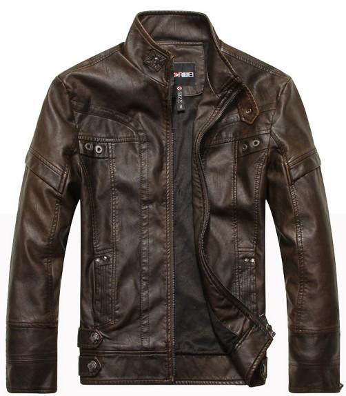 2014 new fashion brand motorcycle genuine leather clothing ,men's leather jacket, Free Shipping(China (Mainland))