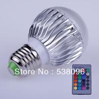 1PCS- E27 RGB LED Lamp 9W AC85-265V /AC LED Bulb Lamp With Remote Control Multiple Colour LED Lighting Free shipping