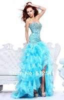 Sexy Hi-Lo Mermaid Prom Dresses 2013 New Arrive Sweetheart Backless Rhinestone Ruffle Organza R-061