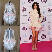 Hot Sale Selena Gomez High Neck Long Sleeve Celebrity Dresses Above Knee Length Cocktail Dresses New fashion 2013 ES0120