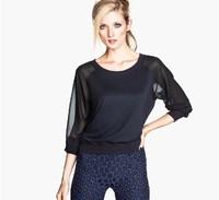 New 2014 Women Autumn High quality cotton,Thin cloth of t-shirts, rib neckline long-sleeved jacket