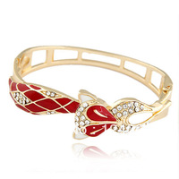 2014 New Individualized Fashion Jewelry Designer Brand Fox Gem Enamel Colored Cuffe bracelets & bangles For Women