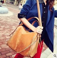 Ladies stylish Freeshiping 2014 new handbag fashionable retro matte leather navy blue shoulder bag hit the color diagonalpackage