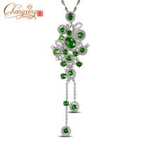 IF Green Tsavorite Full Cut Diamond Real 14k Gold Engagement Charming Pendant