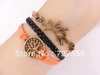 Charms Bronze Karma Wish Tree and Branch Orange Lint Rope Men Girl Leather Bracelet Gift Cuff Wrist Fashion Women Jewelry
