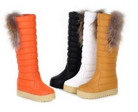 Women's shoes snow cotton  platform boots tall raccoon fur tassel boots high-leg boots