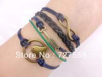(Min Order $7) Charms Infinity Silver Karma Arrow And Birdcage Dark Blue Rope Girl Leather Bracelet Gift Fashion Women Jewelry