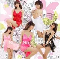 Women Sexy Lingerie Chiffon Lace Mini Dress Underwear Transparent Babydoll Sleepwear+G-String Free Size Free Shipping
