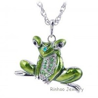 New  Enamel Rhinestone White Gold Plated  Frog  Pendant  NecKlace Sweater Chain Christmas Gift Jewelry  6 Colors