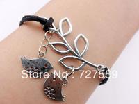 (Min Order $7) Charms Antique Silver Leaf & Two Bird Black Cotton Rope Bracelet Friendship Gift Cuff Wrist Fashion Women Jewelry