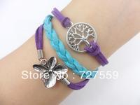 Charms Bangle Antique Silver Flower And Wish Tree Purple Lint Rope Bracelet Friendship Gift Cuff Wrist Fashion Women Jewelry