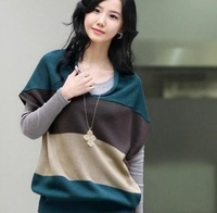 The new 2013 women's autumn outfit stripe knit sweater