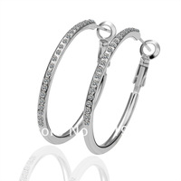 LE020 Fashion 18K Platinum / White Gold Plated Items Artificial Diamond Pave 3.5CM Hoop Earrings Women's Jewelry Christmas Gift