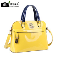 D007 high-grade patent women leather handbags tide Europe fashionable casual messenger bag hand glossy candy colored handbag