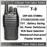 Iteruisi Portable Radio 5W UHF Band Two-Way Radio T-3 Walkie Talkie ITERUISI Free Shipping