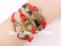 (Min Order $7) Charm Infinity Bangle Antique Bronze Karma Heart Handcuffs Lock Rope Girl Leather Bracelet Gift Fashion Jewelry