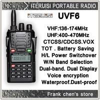 Iteruisi Portable Radio 5W V/U Dual Band Dual Display Two-Way Radio UVF6 Walkie Talkie ITERUISI Free Shipping