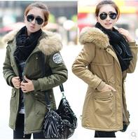 New Winter Women's Fleece Parka Warm Coat Hoodie Overcoat Long Jacket Army Green plus size padded coat Frees Shipping