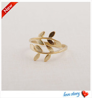 $10 free shipping Fashion jewelry gold Leaf ring women finger