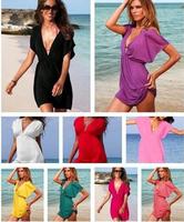 NEW 2014 Fashion women dress beach dress sexy halter-neck one-piece dress bikini outside dress plus size holiday dress