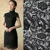 Black  Water Soluble Three-dimensional African lace  Venice Lace Fabrics For Wedding Dress