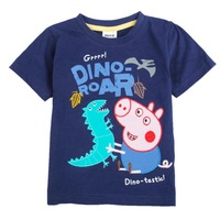 2013 New Arrival Boys Short Sleeve Peppa Pig 100% Cotton T-Shirt with Embroidery Children Clothing Boys Baby Free Shipping 4032