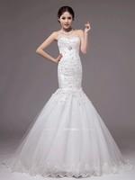 New Design Slim body Wedding Bodycon Dress ,White Flower Lace Mermaid Bridal Gowns,Sexy Bridal Dress Custom Made