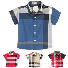 2015 New baby boys shirts brand children's short-sleeve shirt england style spring summer plaid child clothing boy blouse(China (Mainland))
