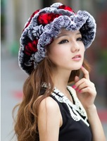 2013 free shipping lady fashion winter fur hat genuine rabbit fur beauty  flounce cap drop shipping welcome