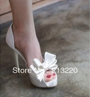 Free shipping plus size white satin fabric women's high-heeled shoes the bride wedding shoes women's platform open toe shoes