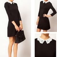 Sexy Slim Lady Women Lace Collar Dress Black Mini Dress S M L Free Shipping F3052