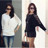 Women Ladies Loose Batwing Dolman Lace Long Sleeve Casual Top T Shirt M XXL