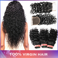 Water Wave Peruvian Virgin Hair 4 Bundles with  1PC Peruvian Lace Closure 5pcs Wet and Wavy Hair Modern Show Hair Products