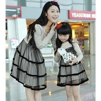 2014 Fashion autumn retail family clothes set  long-sleeve mother and child clothes for mother and daughter one-piece dress