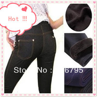 Free Shipping Winter Thicken Cotton 3 Size Large Faux Jeans Leggings Women Warm Slim Pencil pants