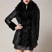 Fashion genuine leather coat women  natural fox fur collar  sheepskin coat  female slim leather design overcoat from big size